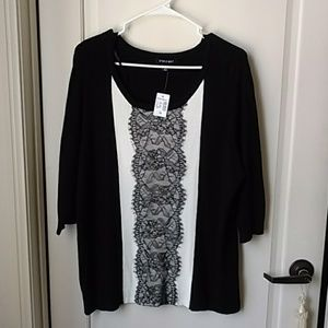 Black White Lace  sweater in size 1X